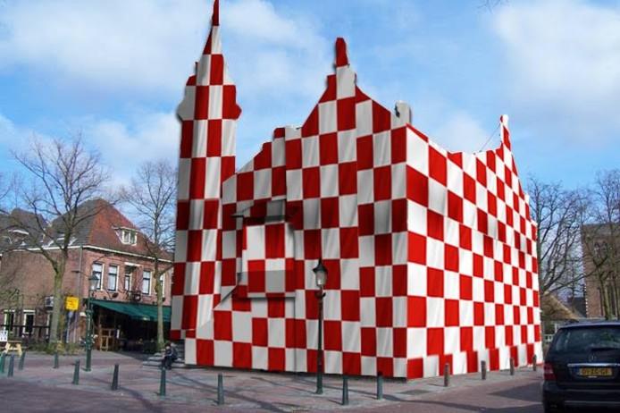 Het ingepakte raadhuis in Oisterwijk.