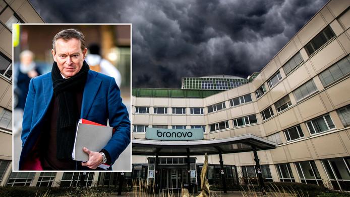 Donkere wolken boven het Bronovo ziekenhuis. Inzet: Minister Bruno Bruins.
