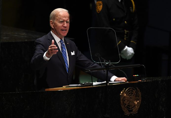 Le président américain Joe Biden s'adresse à la 76e session de l'Assemblée générale des Nations unies à New York, aux États-Unis, le 21 septembre 2021.