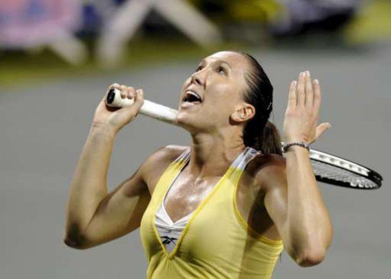 Jelena Jankovic gooit er wat Servische vloeken achteraan. Beeld