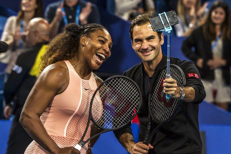 Ook toptennissers Serena Williams en Roger Federer doen gretig mee. Beeld AFP