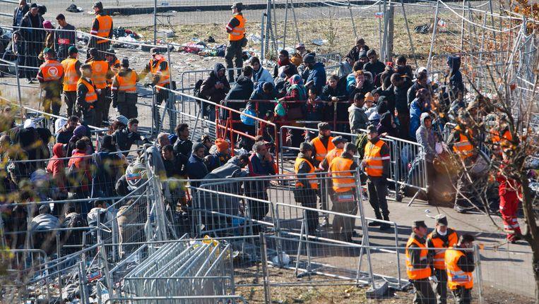Vluchtelingen aan de grensovergang van Spielfeld, tussen Oostenrijk en Slovenië, op 4 november. Beeld EPA