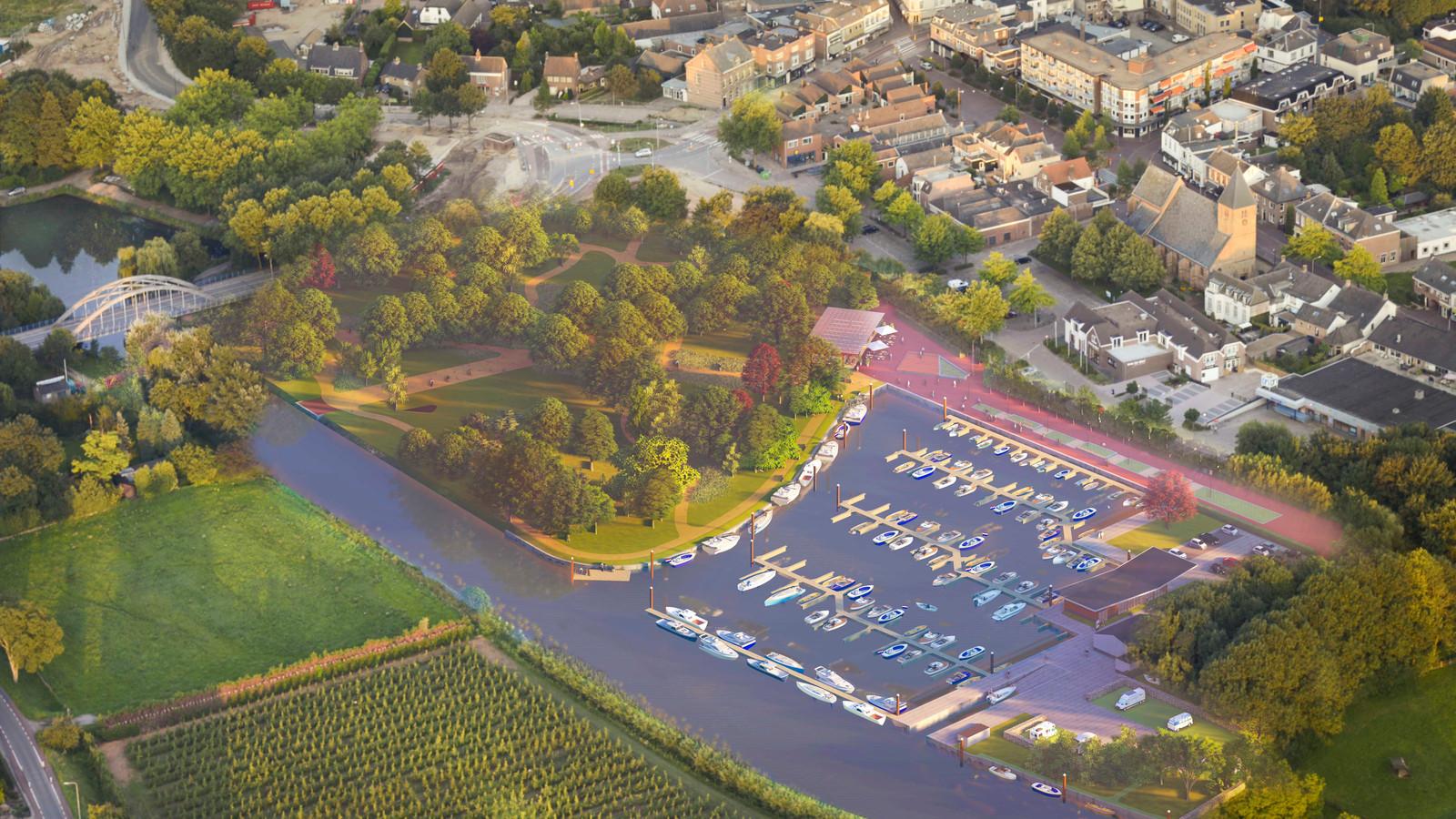 Zo moet het gebied rond de jachthaven van Geldermalsen er uitzien in 2021.