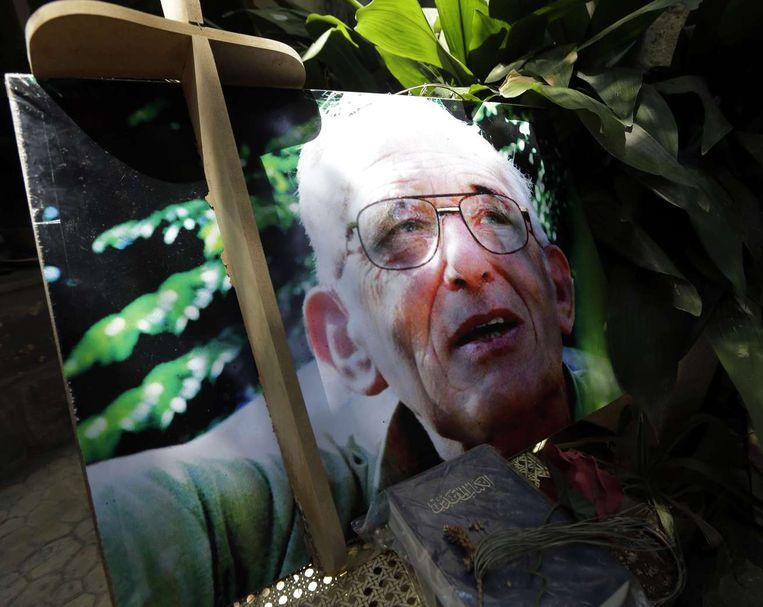Een portret van pater Frans in Homs. Beeld afp