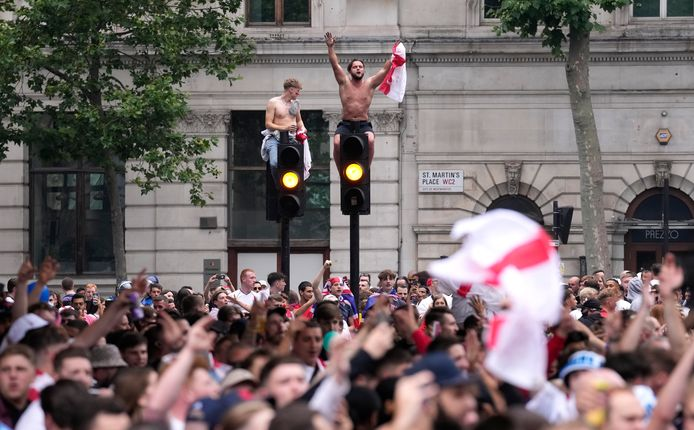 Engelse fans in Londen.