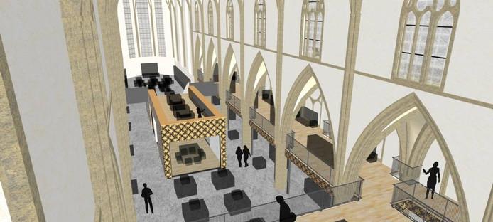 Zo ongeveer ziet de Broederenkerk er in de loop van volgend jaar van binnen uit. De tussenverdieping die nu nog in het midden van de ruimte hangt, verdwijnt. Er komt een activiteitenruimte op de begane grond.