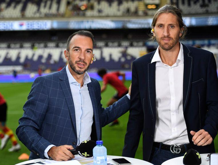 Nicolas Frutos (rechts) is samen met Vincenzo Ciuro analist voor Proximus. Beeld Photo News