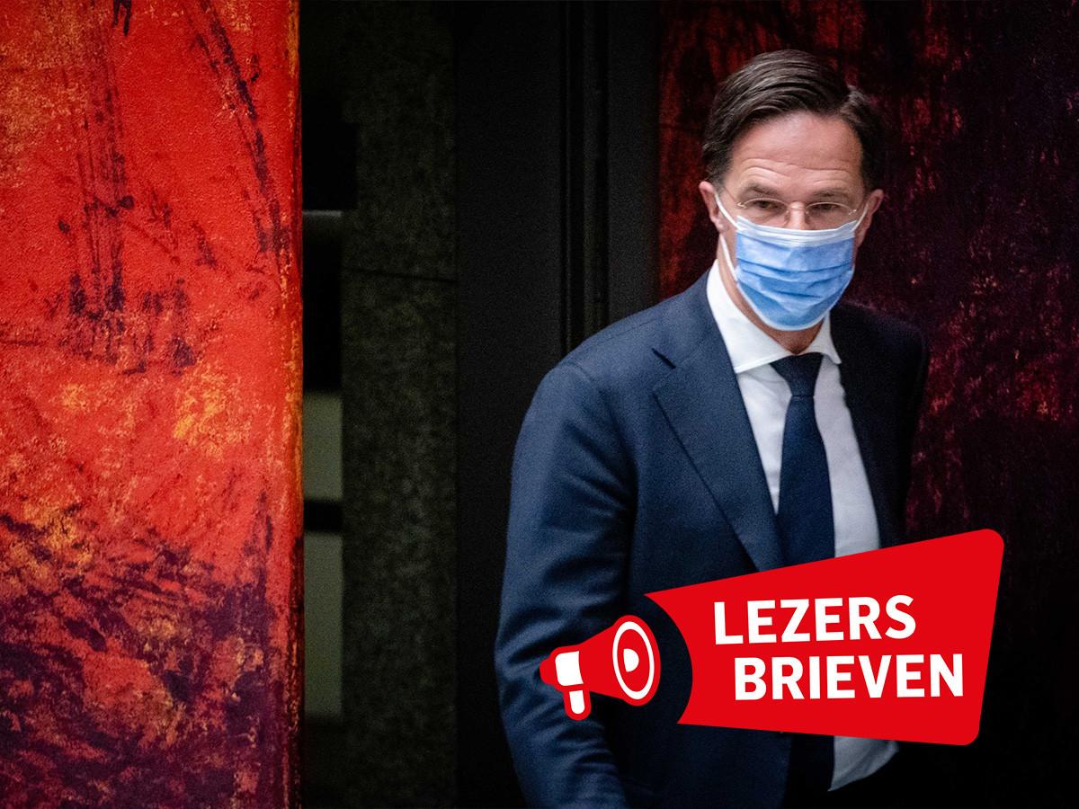 Premier Mark Rutte in de Tweede Kamer tijdens een debat over de ontwikkelingen rondom het coronavirus