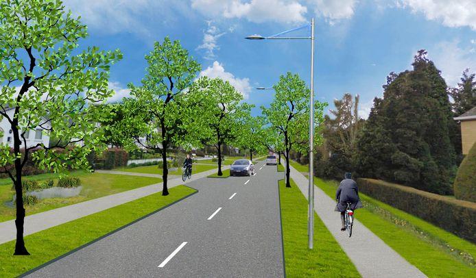 Zo zal de Leopoldlaan (N9) in Eeklo er vanaf het voorjaar 2023 uitzien.