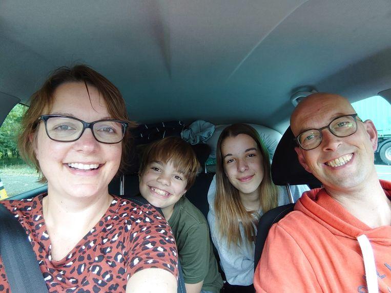 Tessy Gaykema en haar gezin op weg naar de camping in Toscane. Beeld