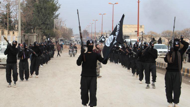 Leden van het aan al-Qaeda gelieerde ISIS paraderen door de straten van het door hen belegerde Tel Abyad, nabij de Turkse grens. Beeld null