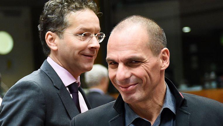 Jeroen Dijsselbloem en Yanis Varoufakis. Beeld AFP