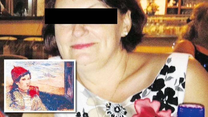 Olga Dogaru na een avondje uit eten. Inzet: een van de gestolen schilderijen van Paul Gauguin.