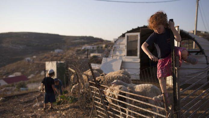 Joodse kinderen spelen buiten hun woning in de nederzetting Havat Gilad op de Palestijnse Westelijke Jordaanoever.