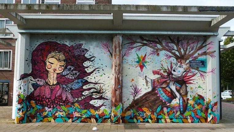 Ook werk van het Street Art Museum Amsterdam, zoals hier in Nieuw-West, is te zien. Beeld Google