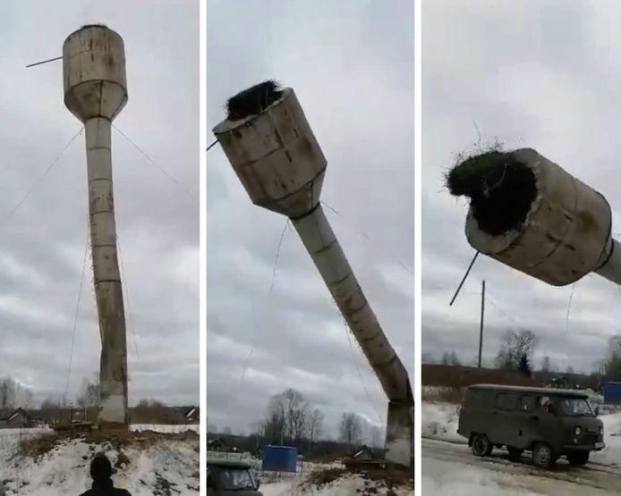 Une tour en démolition s'écrase sur la camionnette des ouvriers, en Russie.