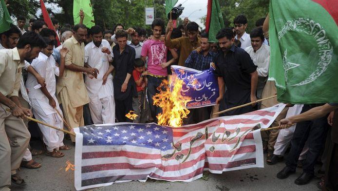 Demonstranten in de Pakistaanse stad Islamabad.