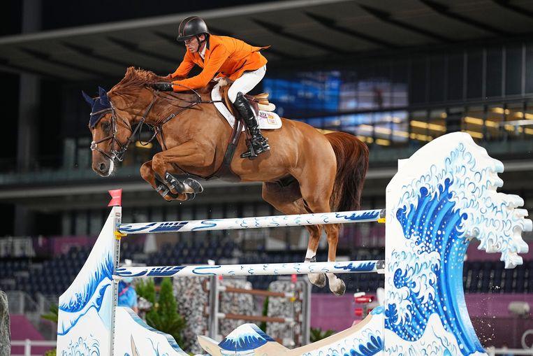 Harrie Smolders bleef met Bingo du Parc foutloos in de finale van de landenwedstrijd. Nederland eindigde als vierde. Beeld EPA