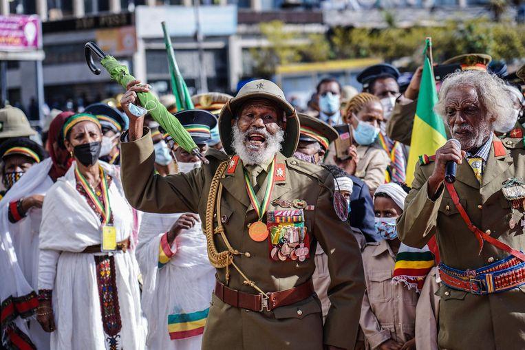In Addis Ababa vierden Ethiopiërs op 5 mei zo hun eigen bevrijdingsdag. Tachtig jaar geleden werd het einde van de Italiaanse bezetting ingeluid. De eerder gevluchte keizer Haile Selassie keerde op 5 mei 1941 terug.  Beeld AFP