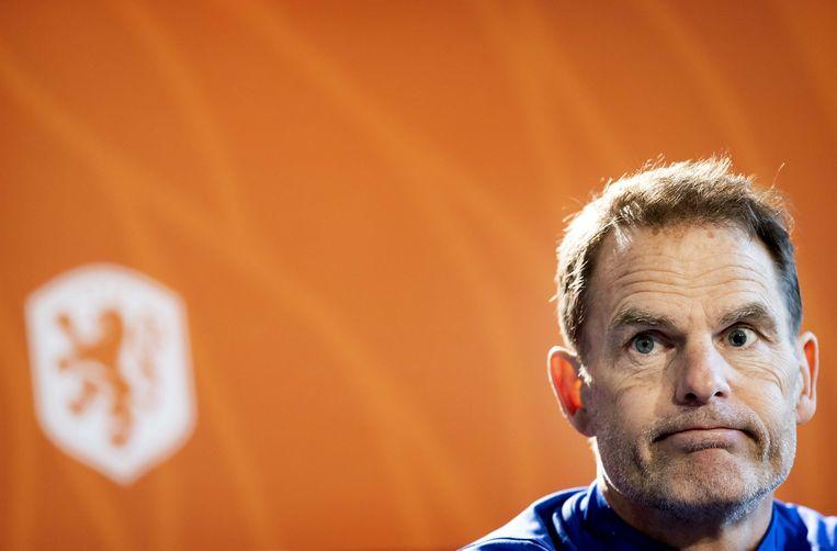 Bondscoach Frank de Boer tijdens een persconferentie in Zeist.  Beeld ANP