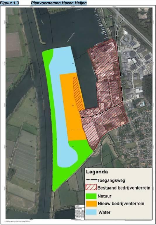 De geplande uitbreiding van de bedrijventerreinen in de haven van Heijen.