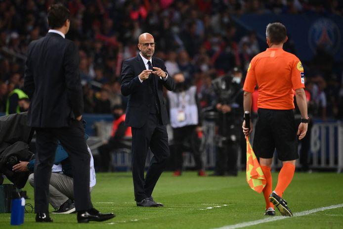 Peter Bosz tijdens het duel met Paris Saint-Germain.