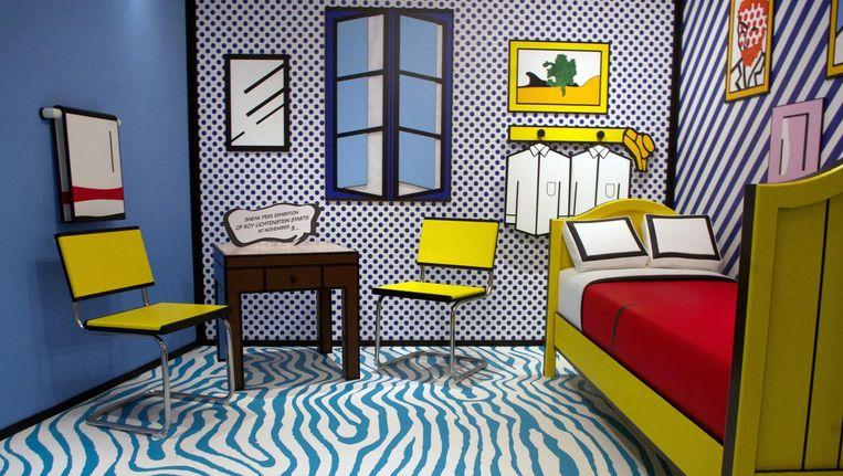 De stijlkamer van Roy Lichtenstein is gebaseerd een schilderij van Vincent van Gogh. Beeld Moco Museum