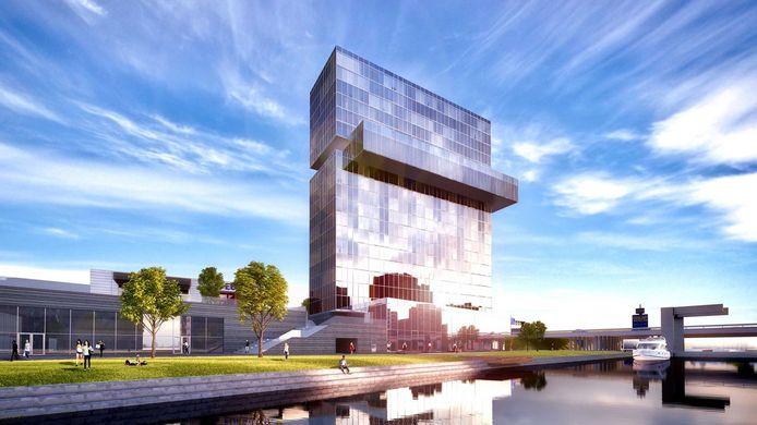 Een artist impression van het toekomstige hotel op Schieveste in Schiedam.