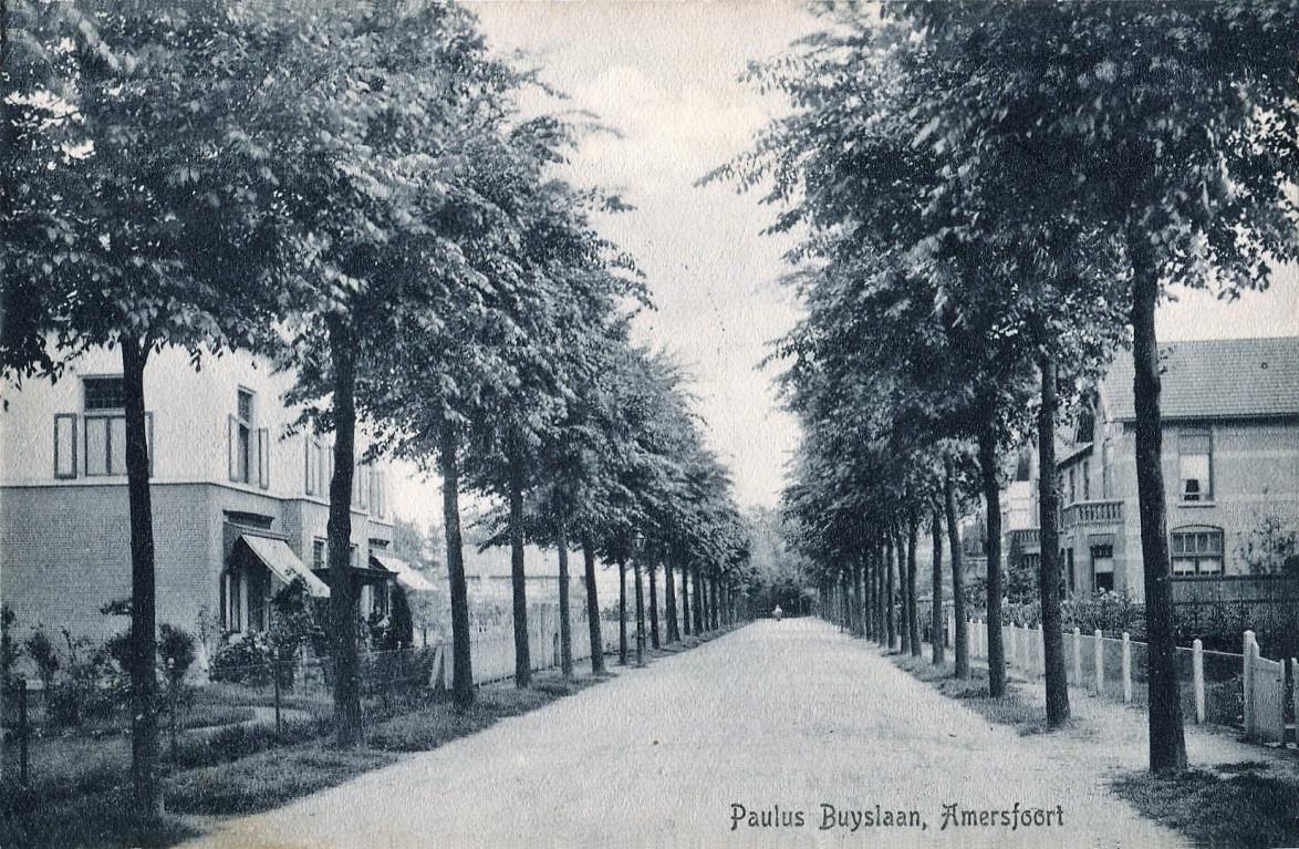 De Paulus Buyslaan in 1915, waarvan enkele huizen tijdens de oorlog zwaar beschadigd raakten.