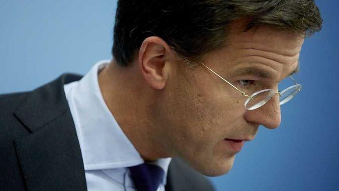 Premier Rutte tijdens de wekelijkse persconferentie, vorige week vrijdag.