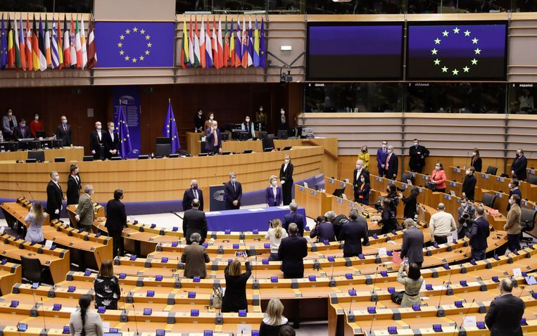 Het Europees Parlement in Brussel. Beeld EPA