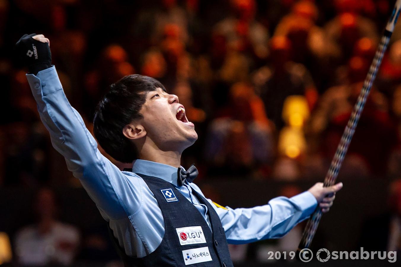 Haeng Jik Kim schreeuwt het uit na zijn wereldbekerzege in Veghel van vorig jaar.
