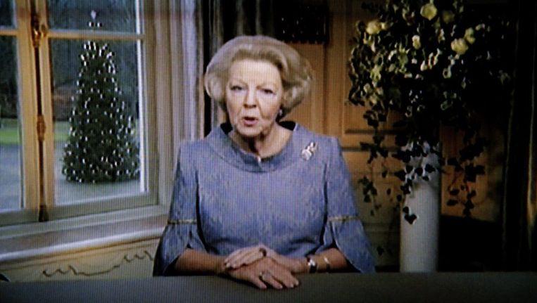Koningin Beatrix tijdens haar kerstrede. Beeld anp