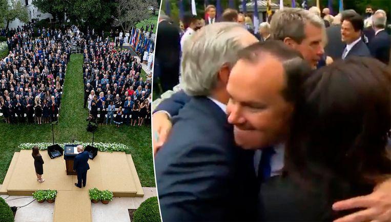Beelden van de ceremonie voor Amy Coney Barrett in de Rozentuin van het Witte Huis vorige week zaterdag. Beeld AP