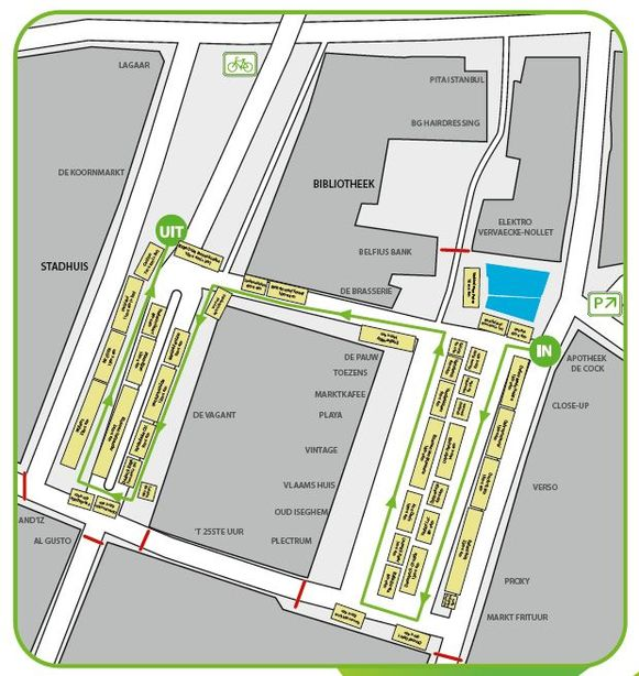 Dit plan toont hoe de zaterdagmarkt vanaf volgend weekend georganiseerd wordt.