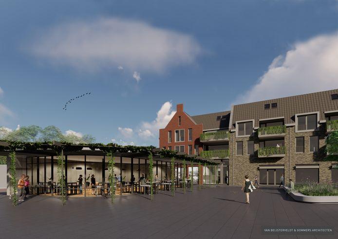 Centrumplan Rijen. Eindelijk wordt het Wilhelminaplein een volwaardig dorpsplein met woningen, supermarkt, horeca en winkel. Links voor in het plan komt een grote horecaruimte. Een kandidaat wordt nog gezocht.