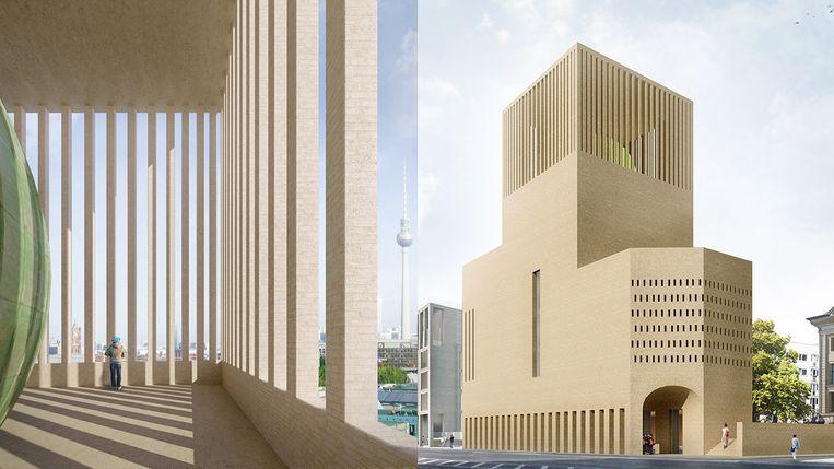 Impressie van House of One in Berlijn. Links de bovenste etage van de drie gebedshuizen. Beeld RV
