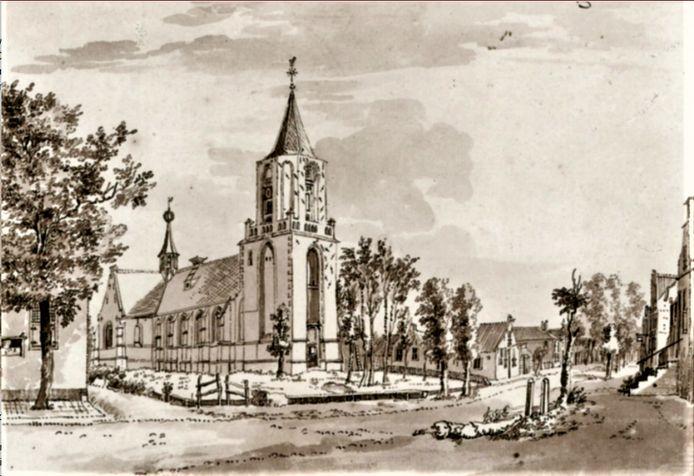 De Sint Catharinakerk in de 18de eeuw.