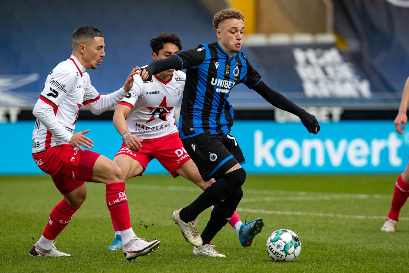 Noa Lang vandaag in actie namens Club Brugge tegen SV Zulte Waregem.