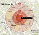Het gebied waar de impact zou zijn geweest als het vuurwerk was ontploft.