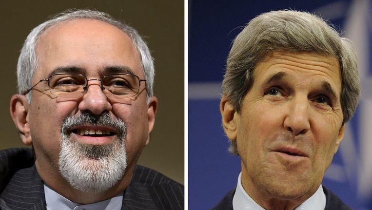 De Amerikaanse minister van Buitenlandse Zaken John Kerry en zijn Iraanse collega Mohammad Javad Zarif Beeld afp