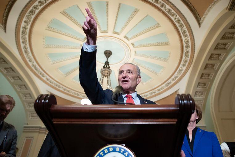 Minderheidsleider in de Senaat Chuck Schumer. Beeld EPA