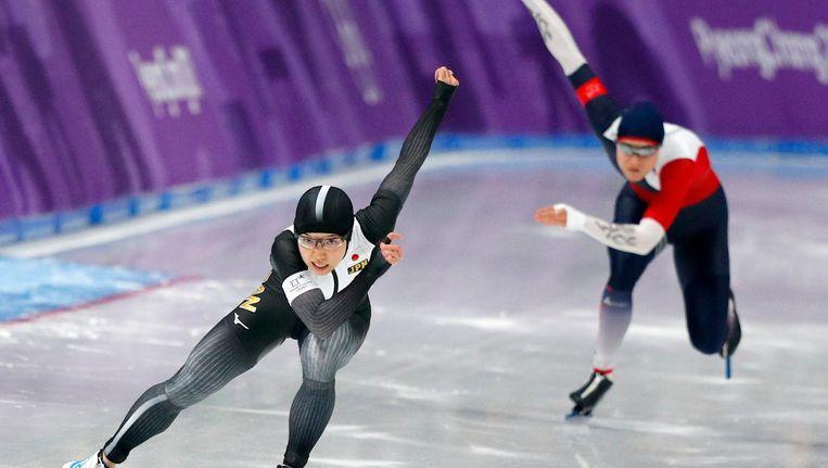 Kodaira tijdens haar gouden race op de 500 meter. Beeld null
