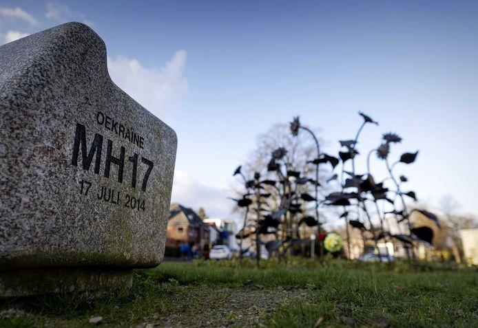 Het MH17-monument in het Dudokpark in Hilversum.