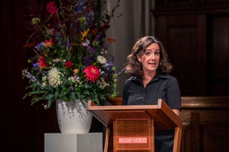 Burgemeester Femke Halsema spreekt de jaarlijkse Abel Herzberglezing uit. Beeld Werry Crone