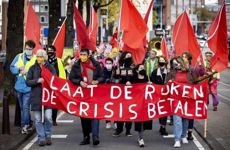 FNV-demonstranten tijdens een eerdere actie op de Dag van de Arbeid. Beeld ANP