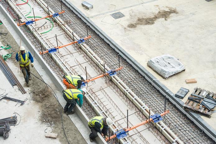 Archieffoto. Op het gedeelte tussen de P&R De Uithof en het Galgenwaard was eind vorig jaar veel bouwactiviteit.