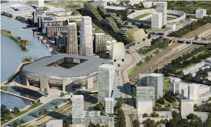 Het OMA-ontwerp voor het nieuwe Feyenoord-stadion en omgeving.