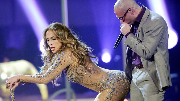 Pitbull en Jennifer Lopez traden op de American Music Awards in 2011 al eens samen op. Beeld Getty