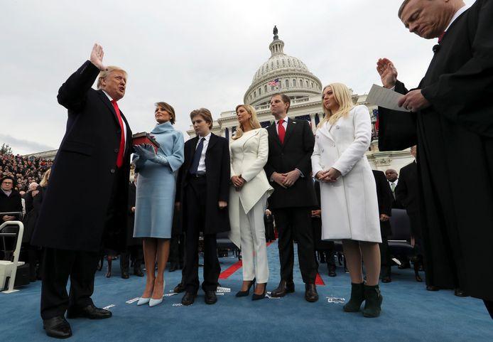 Barron Trump bij de eedaflegging van zijn vader, op 20 januari 2017.